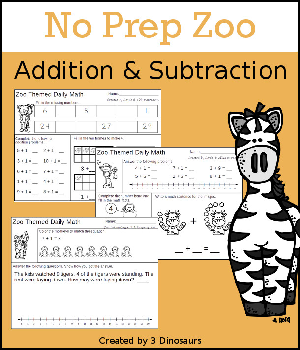 No Prep Zoo Themed Addition & Subtraction - 30 pages no-prep printables with a mix of addition and subtraction activities plus a math center activity - 3Dinosaurs.com #noprepmath #tpt #addition #subtraction