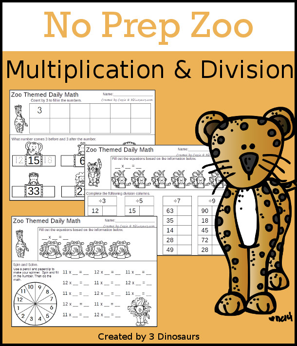 No Prep Zoo Themed Multiplication & Division  - 30 pages no-prep printables with a mix of multiplication and division  activities plus a math center activity - 3Dinosaurs.com #noprepmath #tpt #division #multiplication