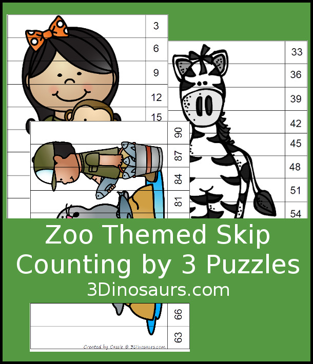 Free Zoo Skip Counting by 3 Puzzles - 3 pages of puzzles with template - 3Dinosaurs.com