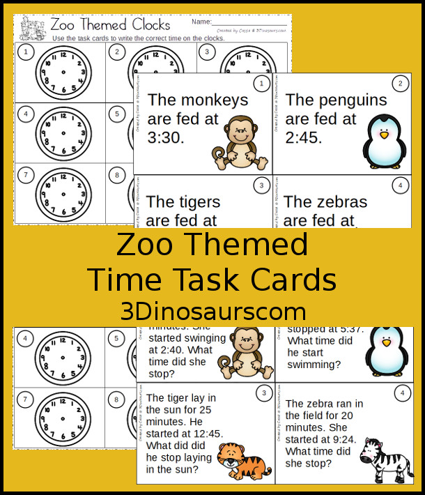 Free Zoo Themed Task Cards - 2 set of time telling task cards - writing time and doing addition or subtraction with time - 3Dinosaurs.com #tellingtimeforkids #zoo #taskcards #freeprintable
