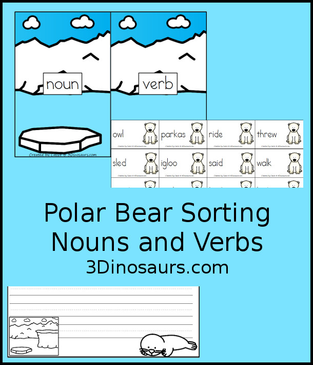 Free Polar Bear Sorting Noun and Verbs - with Polar Bears Past Bedtime - 10 sorting cards for each with a matching mat plus a writing activity as well. - 3Dinosaurs.com