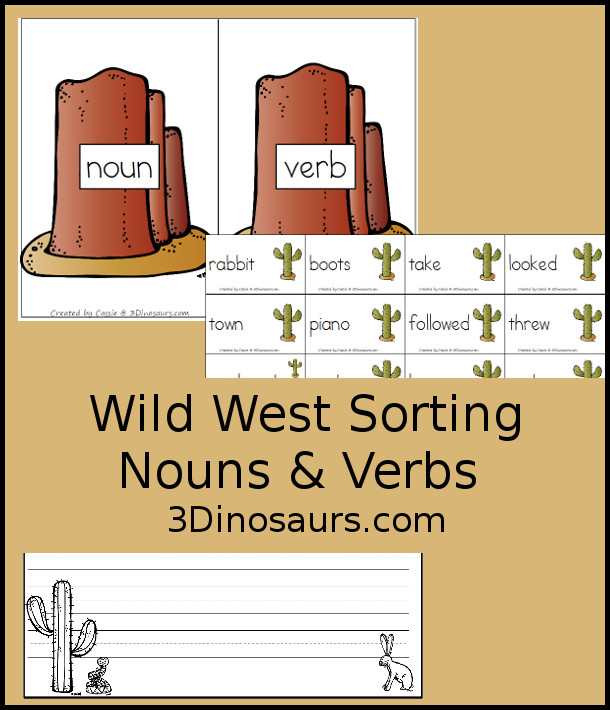 Free Wild West Sorting Nouns & Verbs - with Ghost Town at Sundown - 10 sorting cards for each with a matching mat plus a writing activity as well. - 3Dinosaurs.com