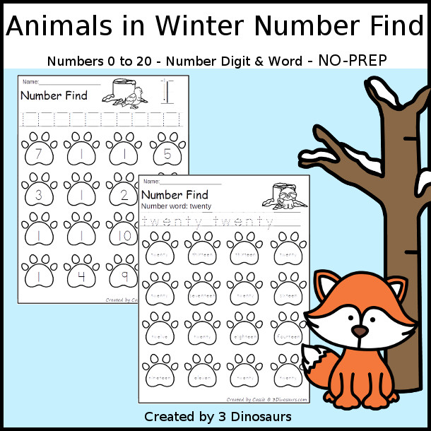 Animals in Winter Number Find - easy to use no-prep printable numbers 0 to 20 $ - 3Dinosaurs.com