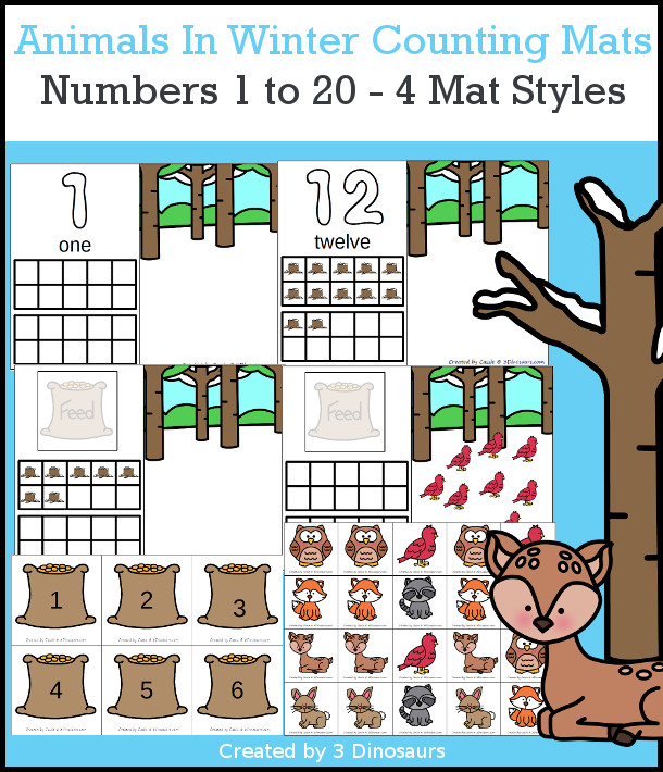 Animals In Winter Counting Mats: 1 to 20 - hands-on math with playdough number and ten frames with 4 mat options - 3Dinosaurs.com