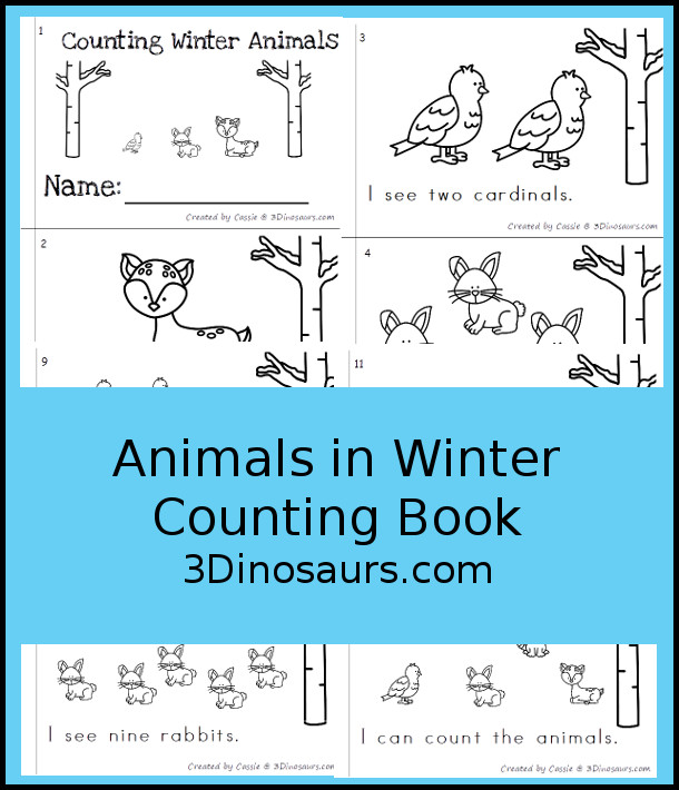 FREE Animals In Winter Easy Reader number counting book with numbers 1 to 10 - 3Dinosaurs.com