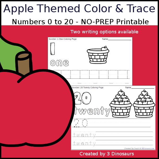 No-Prep Apple Themed Number Color and Trace - easy no-prep printables with a fun fall theme 44 pages with two options for the numbers tracing or writing $ - 3Dinosaurs.com