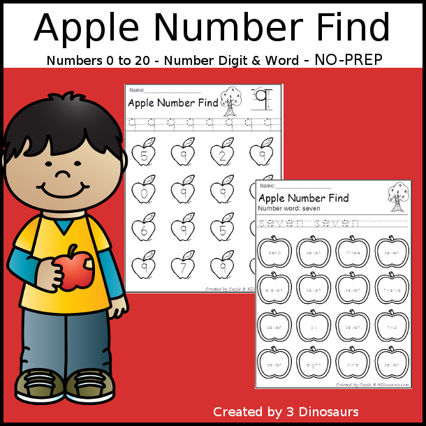 Apple Number Find  - easy to use no-prep printable numbers 0 to 20 $ - 3Dinosaurs.com