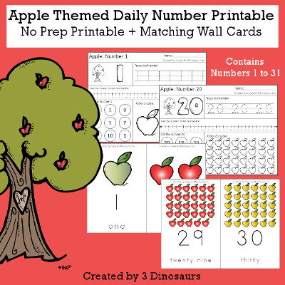 Apple Daily Number For the Fall - wall cards, no-prep printables $4 - 3Dinosaurs.com