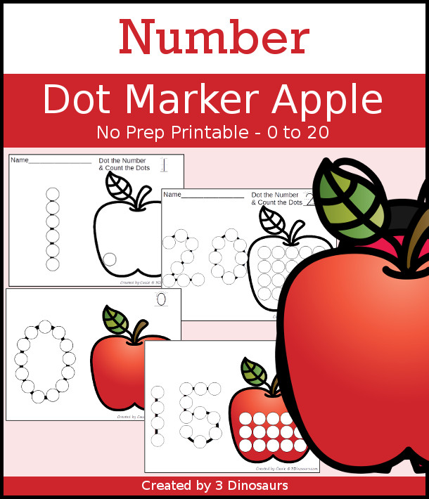 Apple Dot the Number & Count the Dots - numbers 0 to 20 with dot marker activities for kids to work on numbers and counting - 3Dinosaurs.com