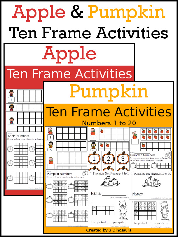 Apples & Pumpkins Ten Frame Activities: No-Prep & Hands-On | 3 ...