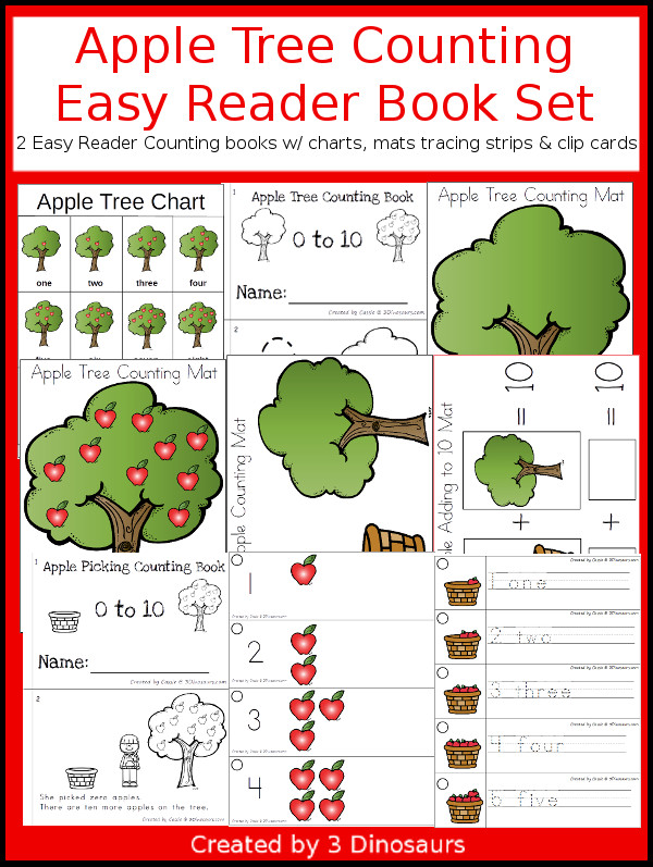 Apple Tree Counting Easy Reader Book Set - 2 types of counting books from 0 to 10 with hands-on matching activities and charts - 3Dinosaurs.com