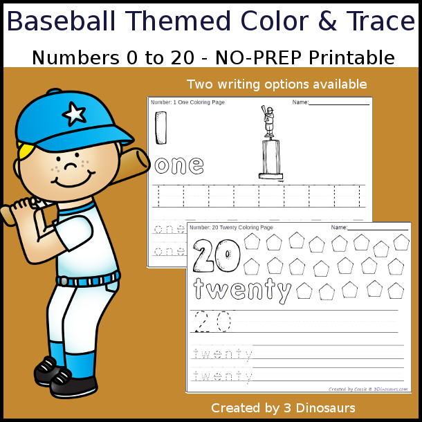 No-Prep Baseball Themed Number Color and Trace - easy no-prep printables with a fun baseball themed theme 44 pages with two options for the numbers tracing or writing $ - 3Dinosaurs.com #noprepprintable #baseballprintables #numbersforkids
