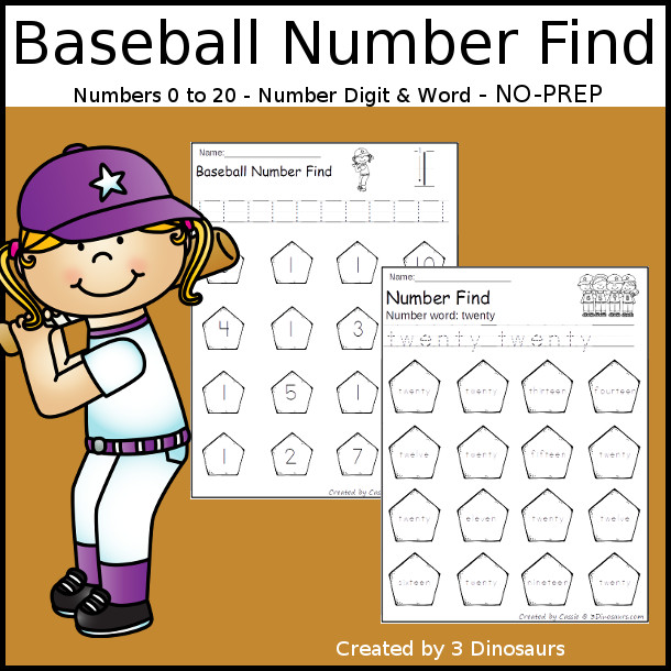 Baseball Number Find - easy to use no-prep printable numbers 0 to 20 $ - 3Dinosaurs.com