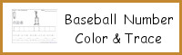 Baseball Themed Number Color & Trace