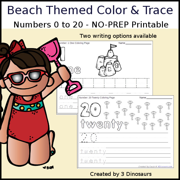 No-Prep Beach Themed Number Color and Trace - easy no-prep printables with a fun beach theme 44 pages with two options for the numbers tracing or writing $ - 3Dinosaurs.com #noprepprintable #summerprintables #numbersforkids