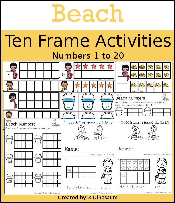 Beach Themed Ten Frame Set: 4 sets of number cards, hands-on and no prep printables, 2 easy reader books with numbers 1 to 20 $ - 3Dinosaurs.com