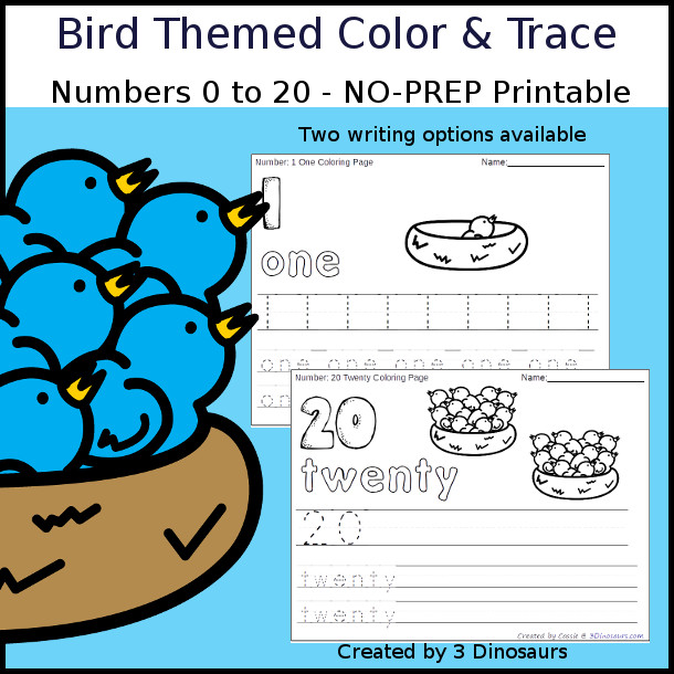 No-Prep Bird Themed Number Color and Trace - easy no-prep printables with a fun bird theme 44 pages with two options for the numbers tracing or writing $ - 3Dinosaurs.com #noprepprintable  #numbersforkids