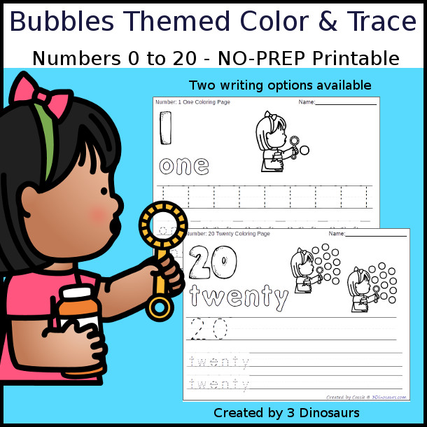 No-Prep Bubbles Themed Number Color and Trace - easy no-prep printables with a fun summer theme 44 pages with two options for the numbers tracing or writing $ - 3Dinosaurs.com #noprepprintable #summerprintables #numbersforkids