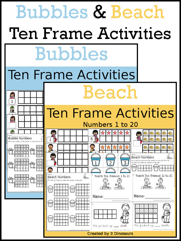 Bubbles and Beach Themed Ten Frame Set: 4 sets of number cards, hands-on and no prep printables, 2 easy reader books with numbers 1 to 20 $ - 3Dinosaurs.com