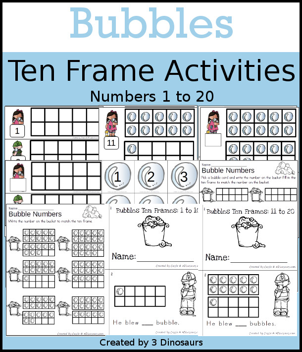 Bubbles Themed Ten Frame Set: 4 sets of number cards, hands-on and no prep printables, 2 easy reader books with numbers 1 to 20 $ - 3Dinosaurs.com