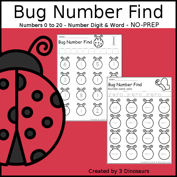 Bug Number Find - easy to use no-prep printable numbers 0 to 20 $ - 3Dinosaurs.com