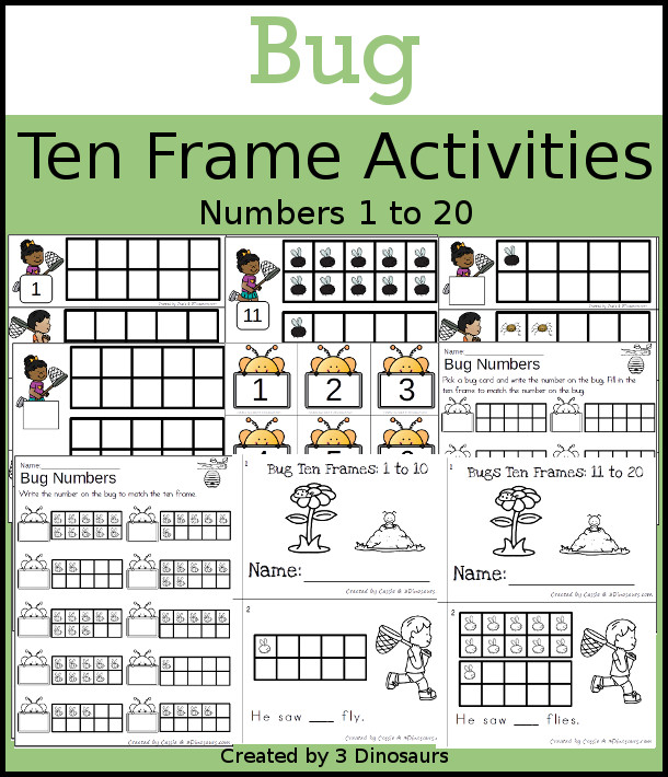 Bug Themed Ten Frame Set: 4 sets of number cards, hands-on and no prep printables, 2 easy reader books with numbers 1 to 20 $ - 3Dinosaurs.com