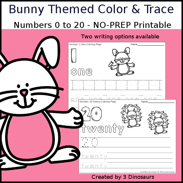 No-Prep Bunny Themed Number Color and Trace - easy no-prep printables with a fun bunny and carrot theme 44 pages with two options for the numbers tracing or writing $ - 3Dinosaurs.com #noprepprintable #easterprintables #numbersforkids