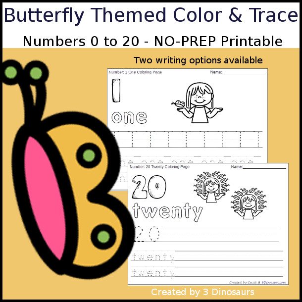 No-Prep Butterfly Themed Number Color and Trace - easy no-prep printables with a fun butterfly theme 44 pages with two options for the numbers tracing or writing $ - 3Dinosaurs.com #noprepprintable  #numbersforkids