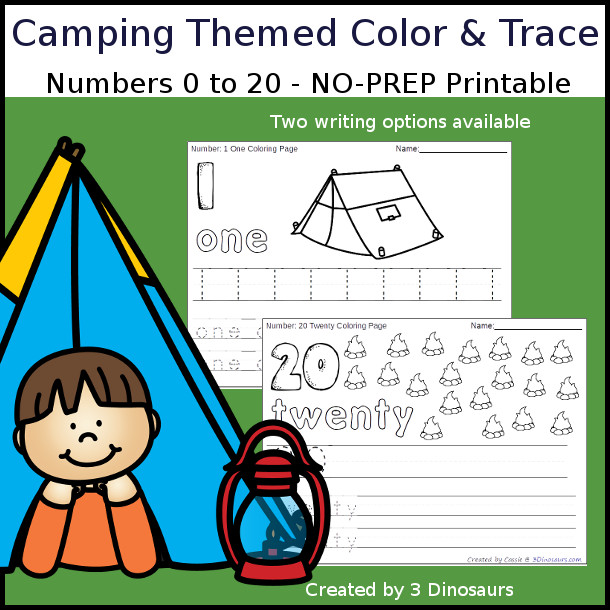 No-Prep Camping Themed Number Color and Trace - easy no-prep printables with a fun summer theme 44 pages with two options for the numbers tracing or writing $ - 3Dinosaurs.com #noprepprintable #summerprintables #numbersforkids