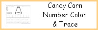 Candy Corn Themed Number Color and Trace