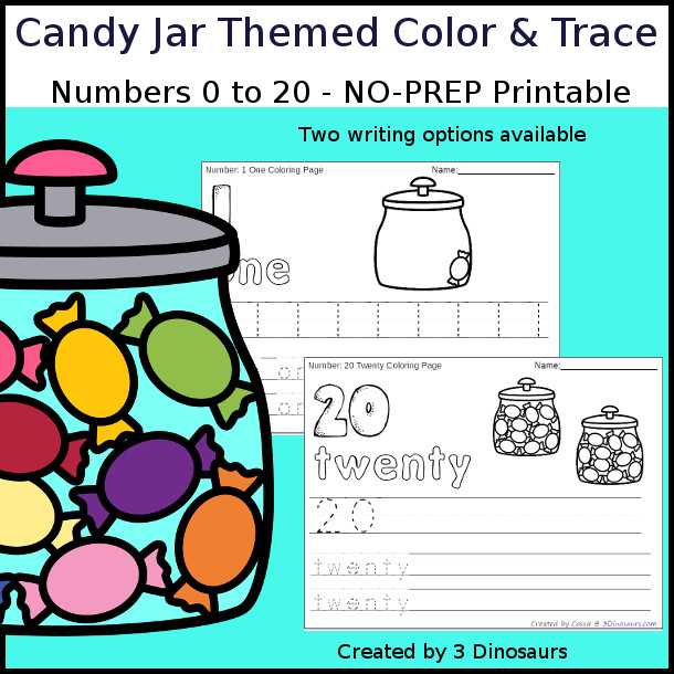 No-Prep Candy Jar Themed Number Color and Trace - easy no-prep printables with a fun candy theme 44 pages with two options for the numbers tracing or writing $ - 3Dinosaurs.com #noprepprintable #candyprintables #numbersforkids