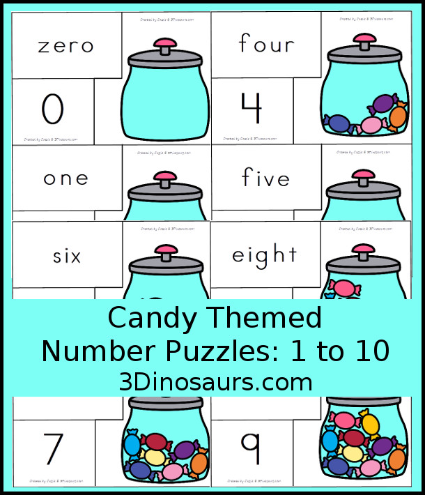 Free Hands-On Learning With Candy Number Puzzles - number puzzles from 0 to 10 - 3Dinosaurs.com #puzzlesforkids #numbers #kindergarten #prek #freeprintable