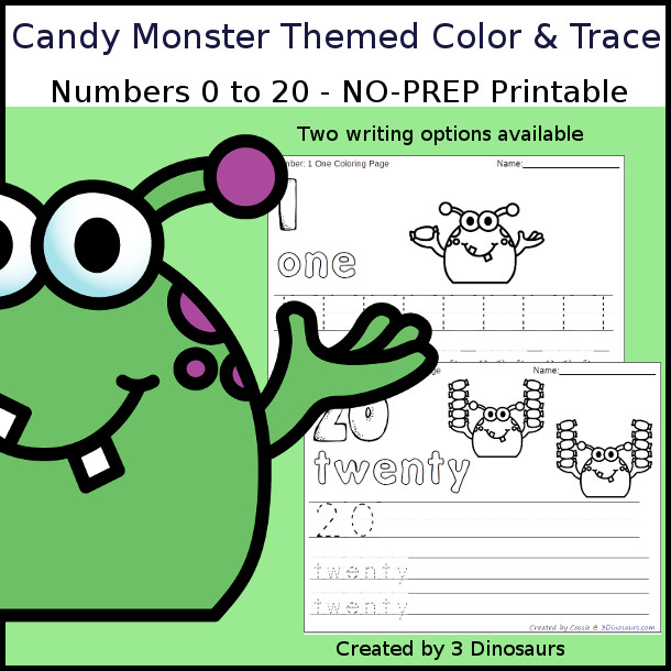 No-Prep Candy Monster Themed Number Color and Trace - easy no-prep printables with a fun candy theme 44 pages with two options for the numbers tracing or writing $ - 3Dinosaurs.com #noprepprintable #candyprintables #numbersforkids