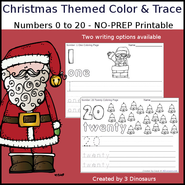 No-Prep Christmas Themed Number Color and Trace - easy no-prep printables with a fun Christmas themes 44 pages with two options for the numbers tracing or writing $ - 3Dinosaurs.com #noprepprintable #christmasprintables #numbersforkids