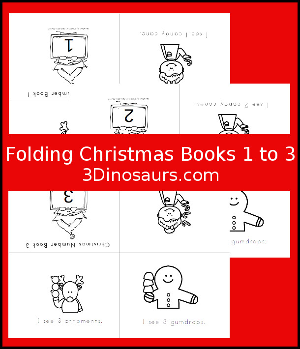 Free Christmas Number Books 1 to 3 - 3 pages of printables - 3Dinosaurs.com