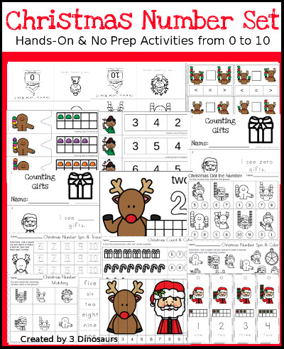 Christmas Themed Number Set 1 to 10 - 3Dinosaurs.com