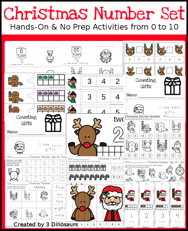 Christmas Themed Number Set 1 to 10 - 92 pages of hands-on and no-prep: books, clip cards, worksheets, counting mats and more prinatbles with a Christmas theme working on numbers 1 to 10 - 3Dinosaurs.com #printablesforkids #Christmas #christmasprintables #tpt #teacherspayteachers