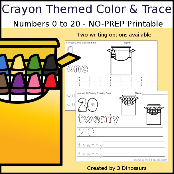 No-Prep Crayon Themed Number Color and Trace - easy no-prep printables with a fun crayon box and crayons theme 44 pages with two options for the numbers tracing or writing $ - 3Dinosaurs.com #noprepprintable #schoolprintables #numbersforkids