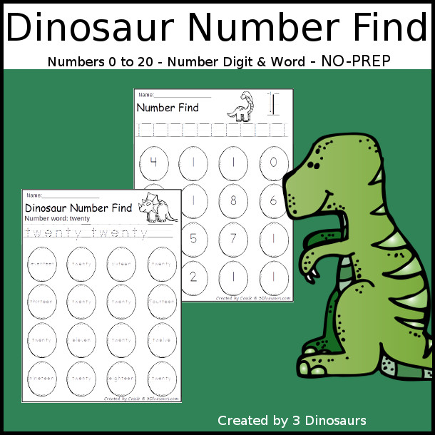 Dinosaur Number Find - easy to use no-prep printable numbers 0 to 20 $ - 3Dinosaurs.com