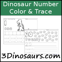 Dinosaur Number Color & Trace