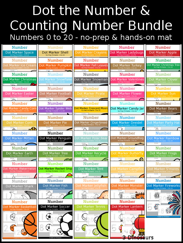 Number Dot Marker & Counting Bundle - numbers 0 to 20 with dot marker activities for kids to work on numbers and counting  with 20 fun themes- 3Dinosaurs.com