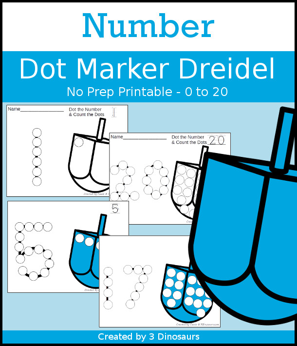 Dreidel Dot the Number & Count the Dots - numbers 0 to 20 with dot marker activities for kids to work on numbers and counting - 3Dinosaurs.com