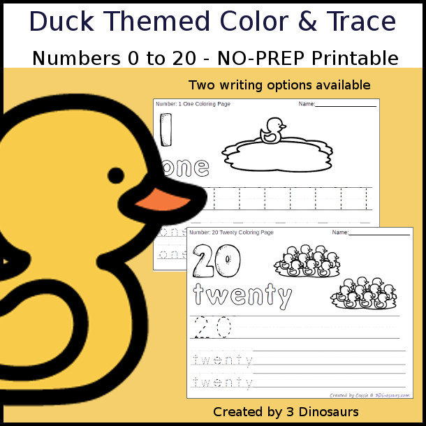 No-Prep Duck Themed Number Color and Trace - easy no-prep printables with a fun duck theme 44 pages with two options for the numbers tracing or writing $ - 3Dinosaurs.com #noprepprintable  #numbersforkids