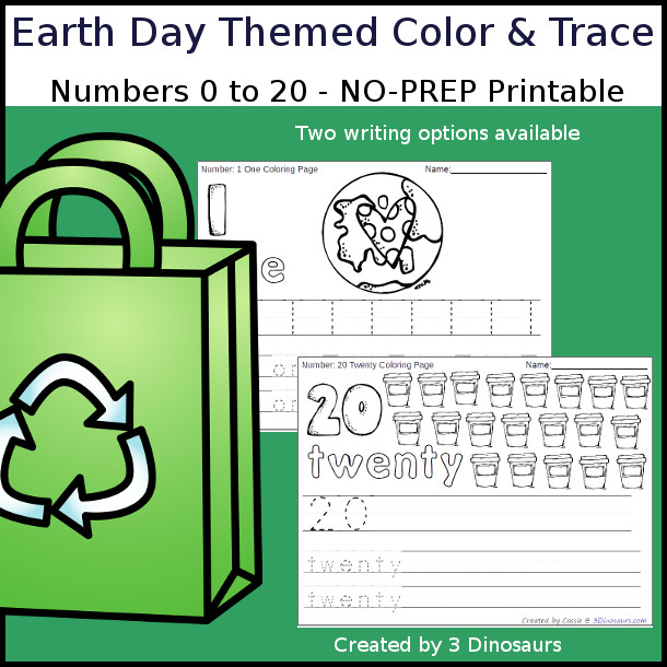 No-Prep Earth Day Themed Number Color and Trace - easy no-prep printables with a fun easter theme 44 pages with two options for the numbers tracing or writing $ - 3Dinosaurs.com #noprepprintable #earthdayforkids #numbersforkids