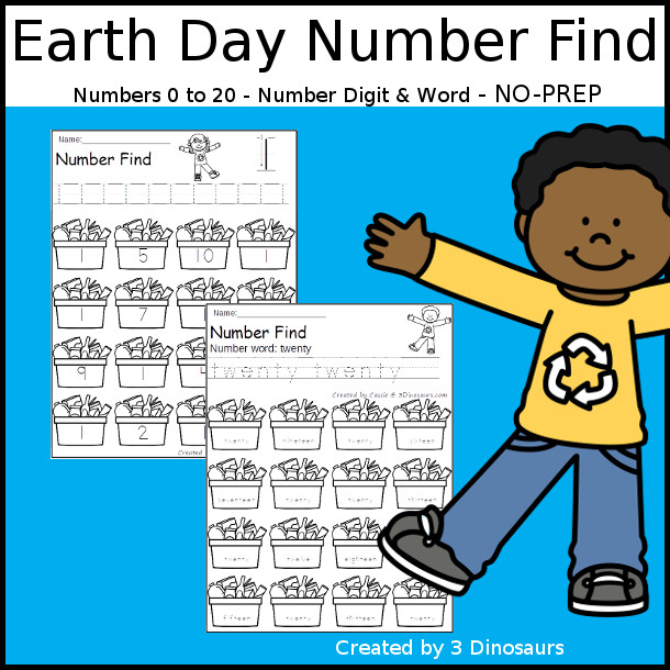 Earth Day Number Find - easy to use no-prep printable numbers 0 to 20 $ - 3Dinosaurs.com