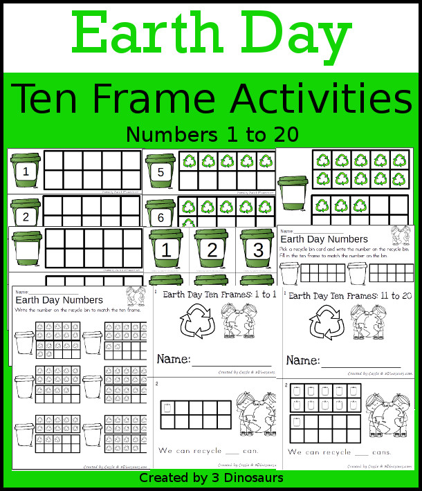 Earth Day Themed Ten Frame Set: 4 sets of number cards, hands-on and no prep printables, 2 easy reader books with numbers 1 to 20 $ - 3Dinosaurs.com  #handsonmath #teacherspayteachers #tenframe #earthdayprintablesforkids #printablesforkids