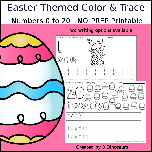 No-Prep Easter Themed Number Color and Trace - easy no-prep printables with a fun easter theme 44 pages with two options for the numbers tracing or writing $ - 3Dinosaurs.com #noprepprintable #easterprintables #numbersforkids