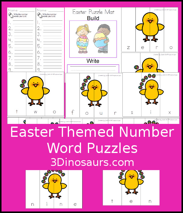 Free Easter Theme Number Word Puzzles - hands-on spelling activity for number words o to 10 - 3Dinosaurs.com #freeprintable #numbersforkids #easterprintables #kindergarten