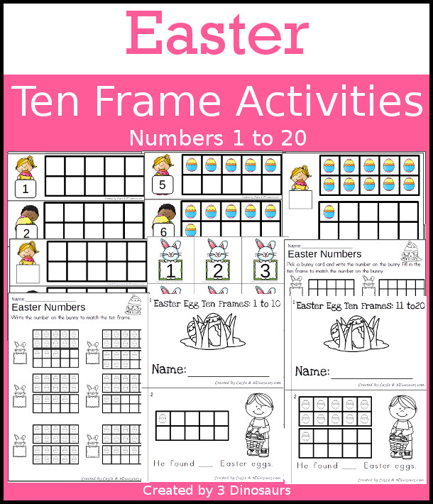 Easter Themed Ten Frame Set: 4 sets of number cards, hands-on and no prep printables, 2 easy reader books with numbers 1 to 20 $ - 3Dinosaurs.com  #handsonmath #teacherspayteachers #tenframe #easterprintablesforkids #printablesforkids