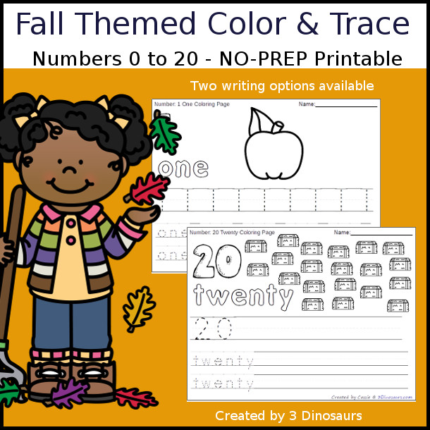 No-Prep Fall Themed Number Color and Trace - easy no-prep printables with a fun fall theme 44 pages with two options for the numbers tracing or writing $ - 3Dinosaurs.com